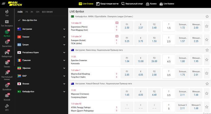 Пари матч лайв ставки на официальном сайте