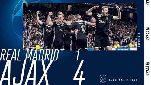 Видео. Фанат Аякса мячом мастерски попал в флаг Реала