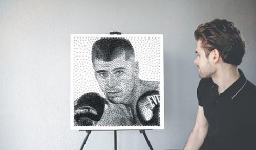 Фанат Гвоздика создал портрет боксера из гвоздей