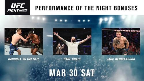 UFC вручило по 50 тисяч доларів кращим бійцям вечора