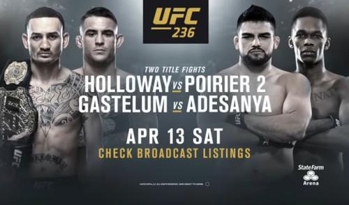 Где смотреть онлайн UFC 236: Холлоуэй – Порье, Гастелум – Адесанья