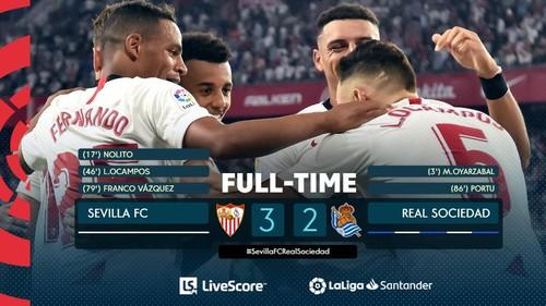 Севилья вошла в зону еврокубков, переиграв Реал Сосьедад