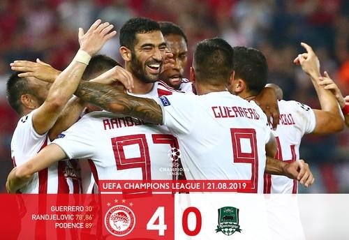 Олимпиакос – Краснодар – 4:0. Видео голов и обзор матча