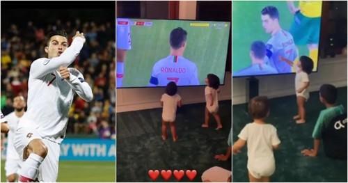 ВИДЕО. Как дети Роналду смотрели за голами отца по телевизору