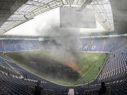 ФОТО. Пожежа на стадіоні. Дніпро-1 вирішив спалити траву на домашній арені
