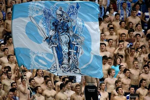 ВИДЕО. Как фанаты Динамо поддерживали команду возле ворот Славутич Арены