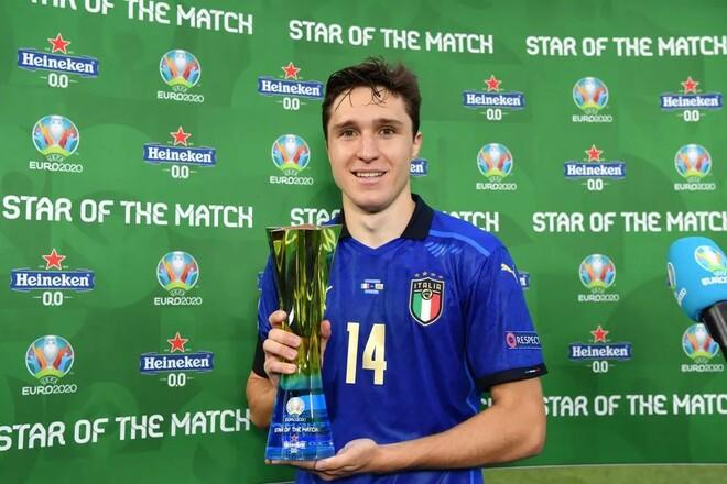 Кьеза признан звездой матча. Повтор рекорда Италии в 30 игр без поражений