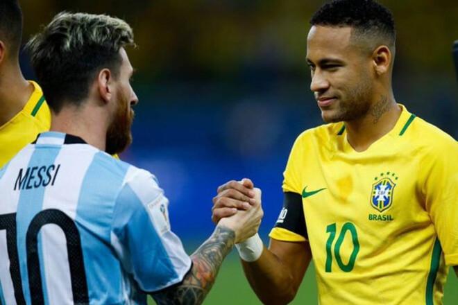 Аргентина – Бразилия. Месси против Неймара. Стартовые составы команд