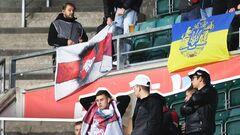 В Таллинне на матче Беларуси повесили флаги Украины и белорусской оппозиции