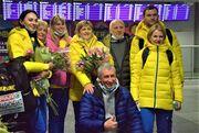 Цветы и объятия. Как встречали чемпионок Европы Магучих и Бех-Романчук