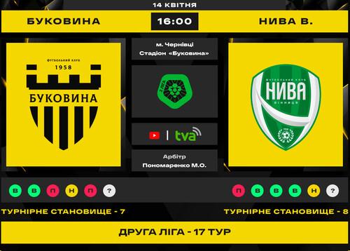 Буковина – Нива Винница. Смотреть онлайн. LIVE трансляция