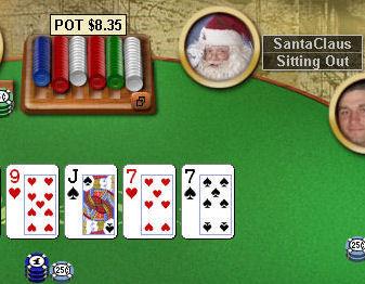 Санта Клаус раздаёт подарки за столами PokerStars