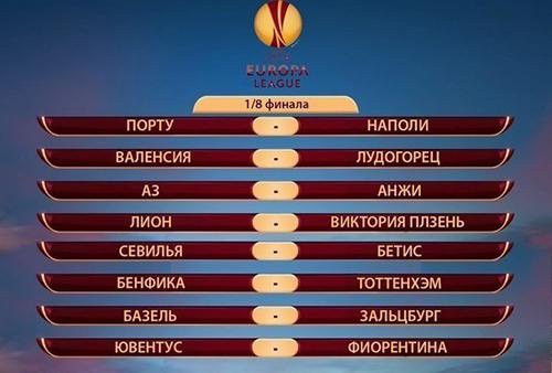 Пары 1/8 финала Лиги Европы