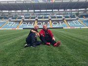 ФОТО ДНЯ. Игорь Беланов и Христо Стоичков на поле стадиона Черноморец